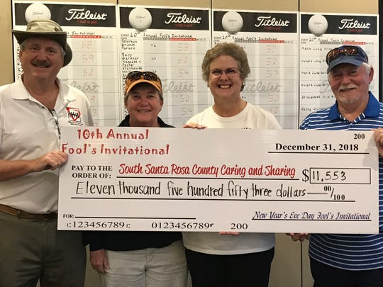 Chuck Howard, Sherill Villane, Ann Thompson and Dave Villane are pictured at the New Year's Eve 10th annual Fool's Invitational golf tournament.