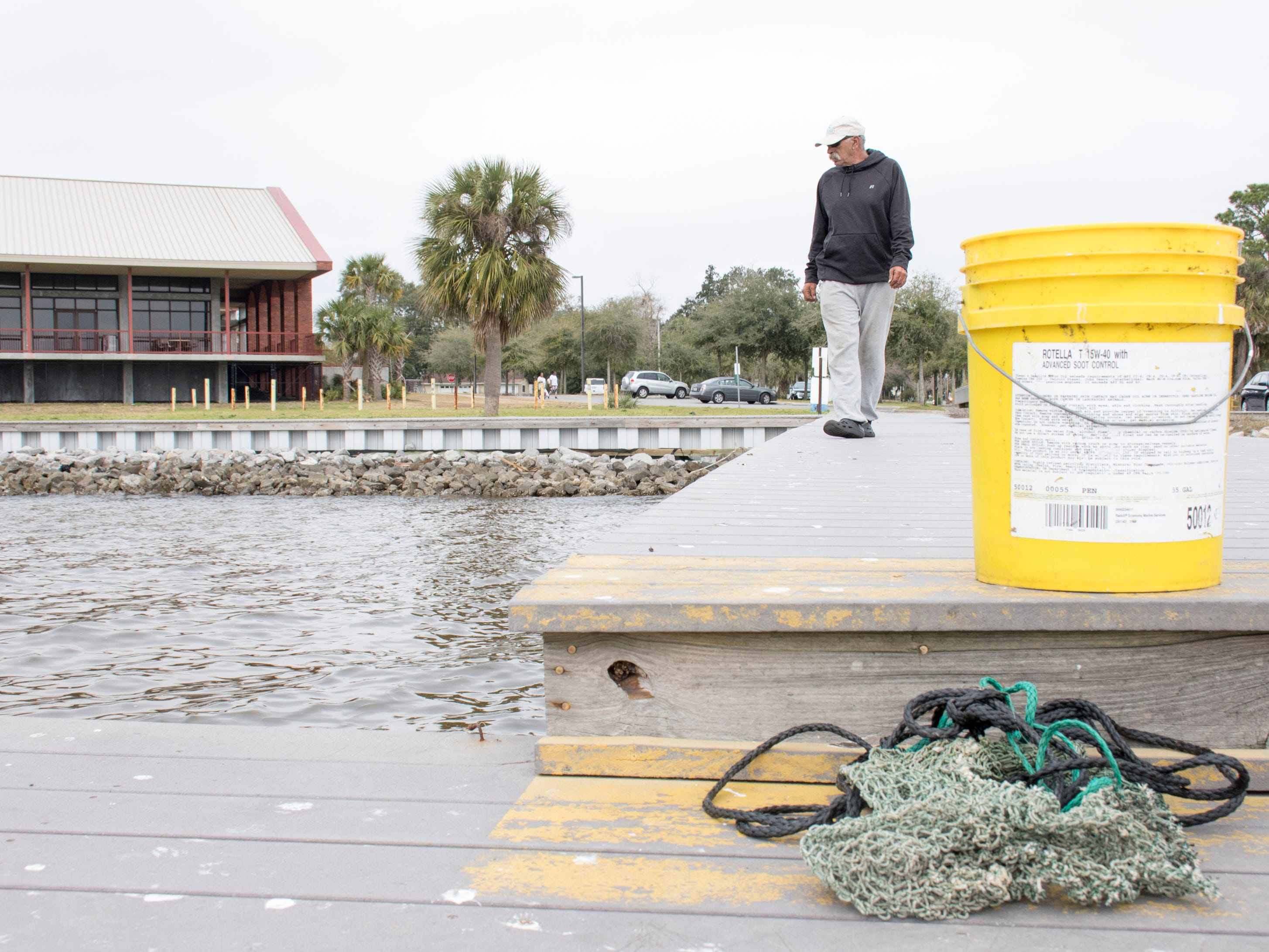 Donald Skipper looks for mullet to fish along Sanders Beach in Pensacola on Monday, February 4, 2019.  Pensacola Mayor Grover Robinson plans to ask the Pensacola City Council for $60,000 to have the landscape architecture firm SCAPE study ways to improvement access, connectivity and resiliency along the waterfront between Joe Patti's Seafood to Bayou Chico. If approved, the funding would extend the boundaries of an existing SCAPE funded by Pensacola entrepreneur and philanthropist Quint Studer.