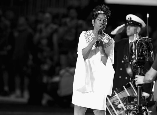 ATLANTA, GA - FEBRUARY 03:  (EDITORS NOTE: Image has been converted to Black and White.) Gladys Knight performs during the Super Bowl LIII Pregame at Mercedes-Benz Stadium on February 3, 2019 in Atlanta, Georgia.  (Photo by Kevin Winter/Getty Images)
