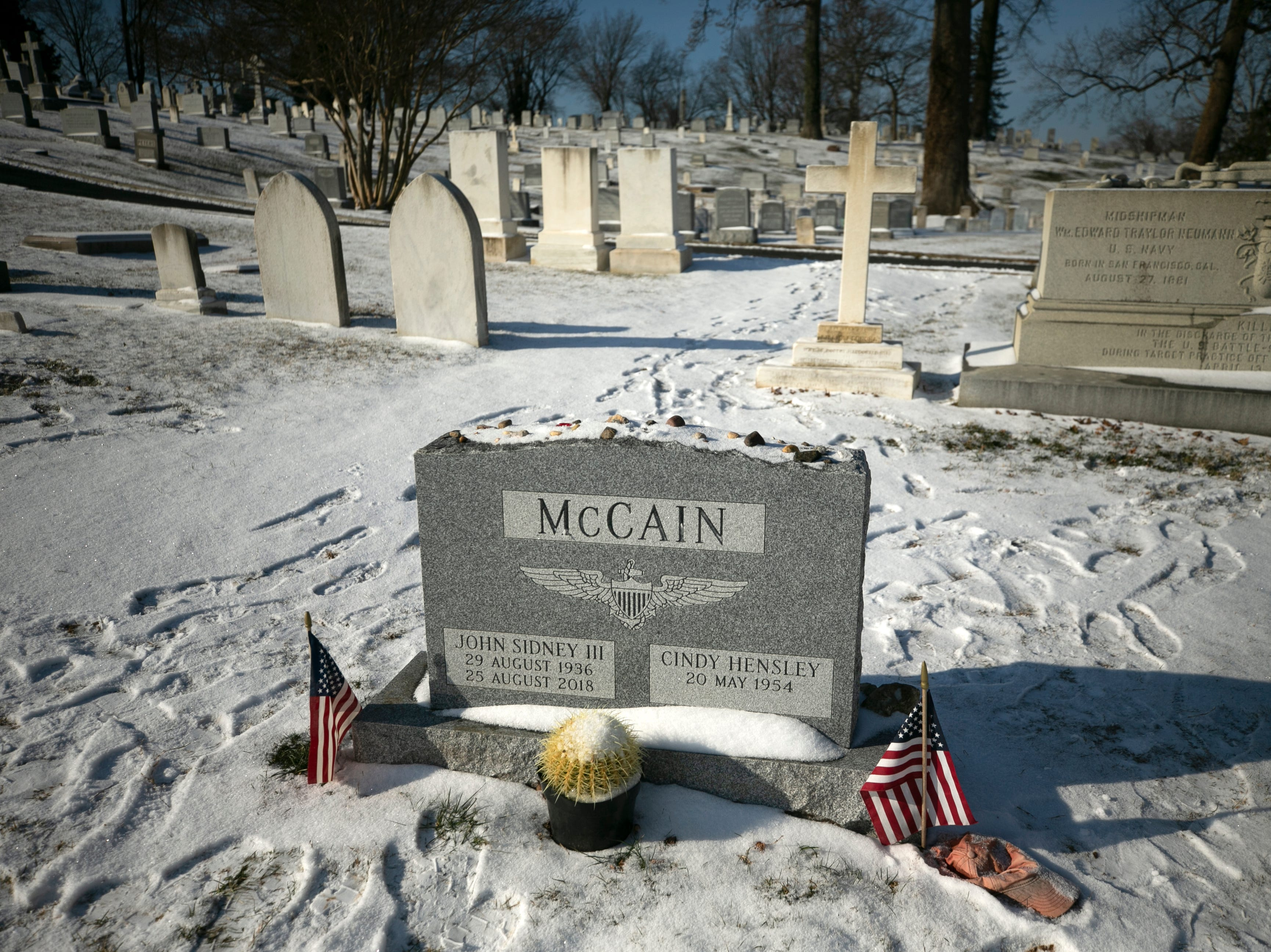 The grave site of the late U.S. Sen. John McCain is seen at the United States Naval Academy Cemetery in Annapolis, Maryland, on Feb. 2, 2019.
