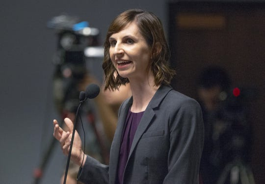 Arizona Superintendent of Public Instruction Kathy Hoffman delivers a speech on education in a hearing room at the House of Representatives at the State Capitol in Phoenix, Monday, Feb. 4, 2019.
