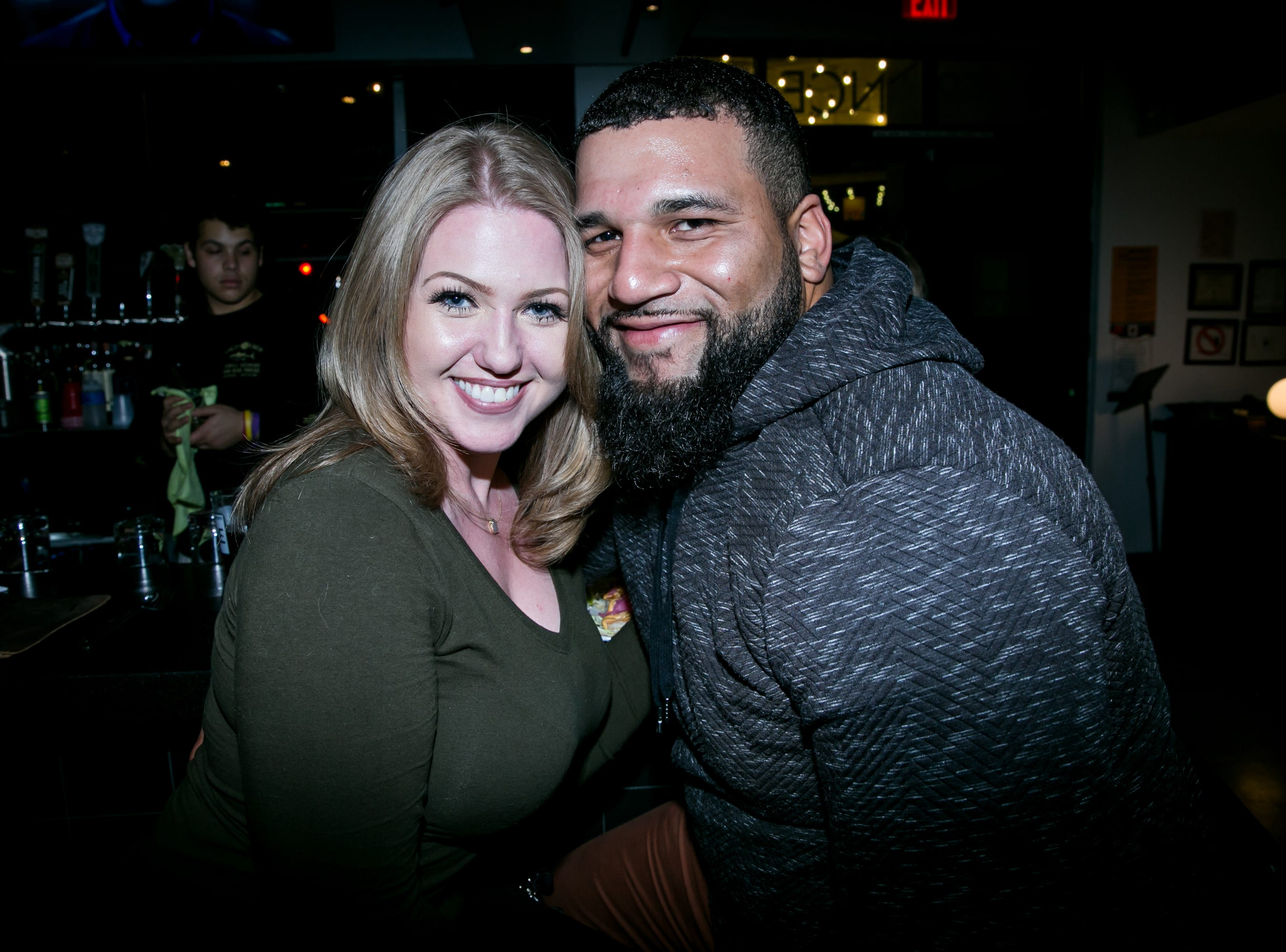 This cute couple has fun during Paz Cantina's Super Bowl Watch Party on Feb. 3, 2019.