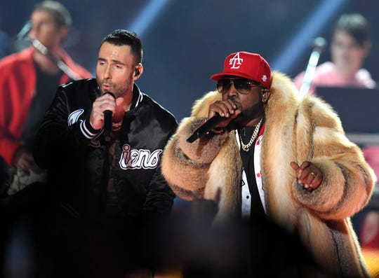 ATLANTA, GA - FEBRUARY 03:  Adam Levine of Maroon 5 (L) and Big Boi perform during the Pepsi Super Bowl LIII Halftime Show at Mercedes-Benz Stadium on February 3, 2019 in Atlanta, Georgia.  (Photo by Kevin Winter/Getty Images)