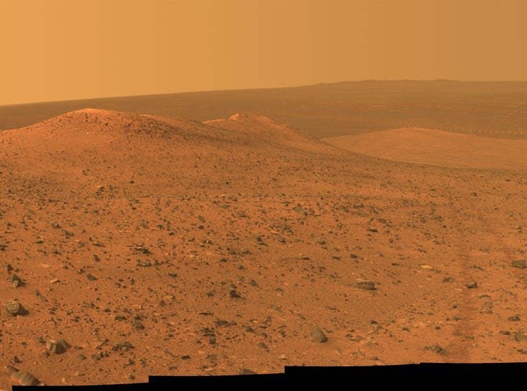 """Opportunity took this photo of """"Wdowiak Ridge,"""" from left foreground to center on Sept. 17, 2014. The ridge is on the western rim of Endeavour crater."""