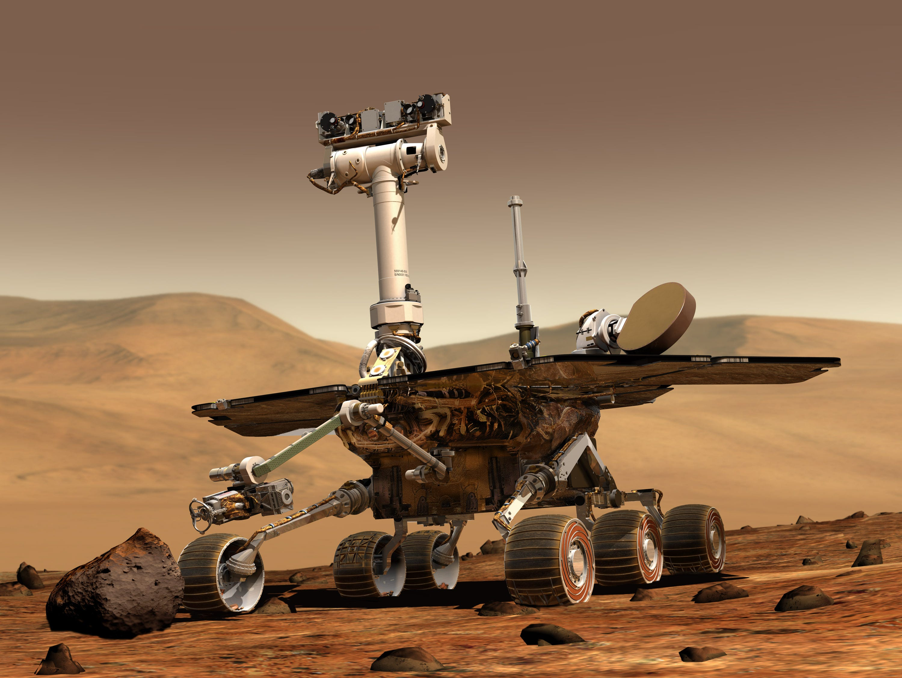 An artist's illustration of a NASA Mars Exploration Rover on the surface of Mars. Two unmanned rovers, Spirit and Opportunity, were launched in 2003 and arrived at sites on Mars in January 2004. They are each about the size of a golf car.  Each rover has a toolkit for functioning as a robotic geologist.