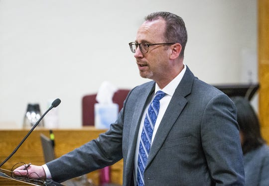 Deputy Yavapai County Attorney Steve Young delivers opening arguments in the trial of Kenneth Wayne Thompson, who is accused of killing two people in 2012.  The trial began Jan. 30 in the Yavapai County Courthouse in Prescott.