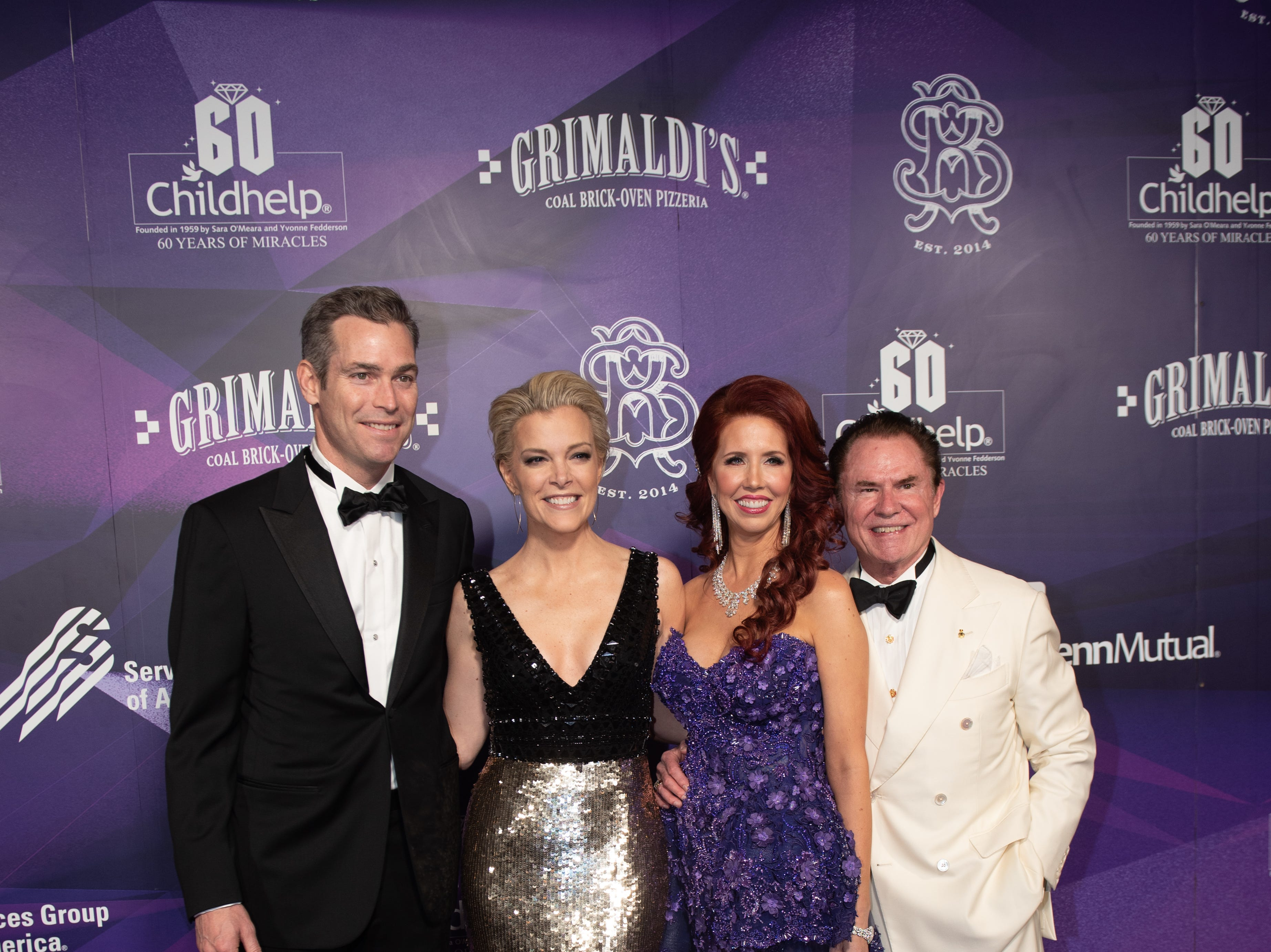 Douglas Brunt, Childhelp Celebrity Ambassador Megyn Kelly, with Gala Co-Chairs Stacie J. Stephenson and Richard J. Stephenson attended the Childhelp Drive the Dream Gala on February 2, 2019.