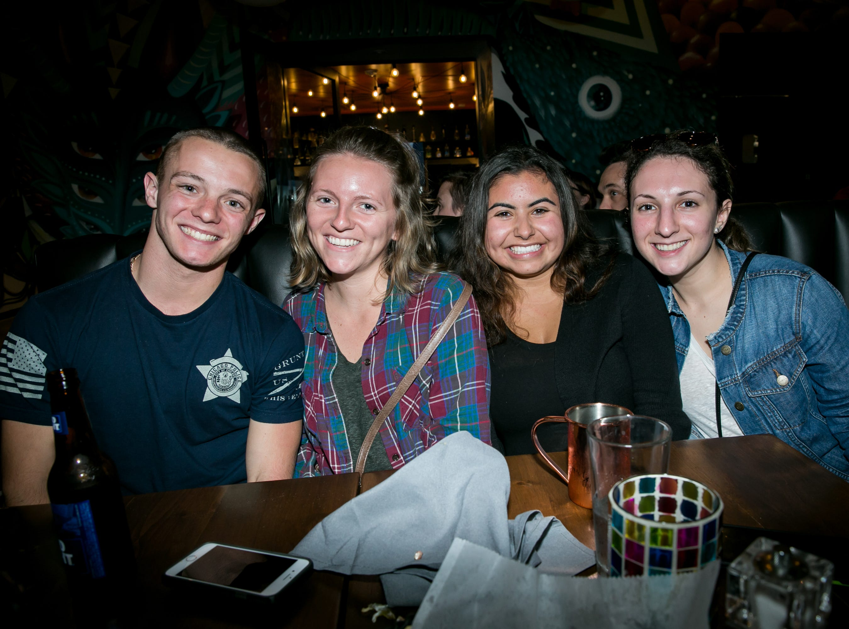 This group has a great time during Paz Cantina's Super Bowl Watch Party on Feb. 3, 2019.