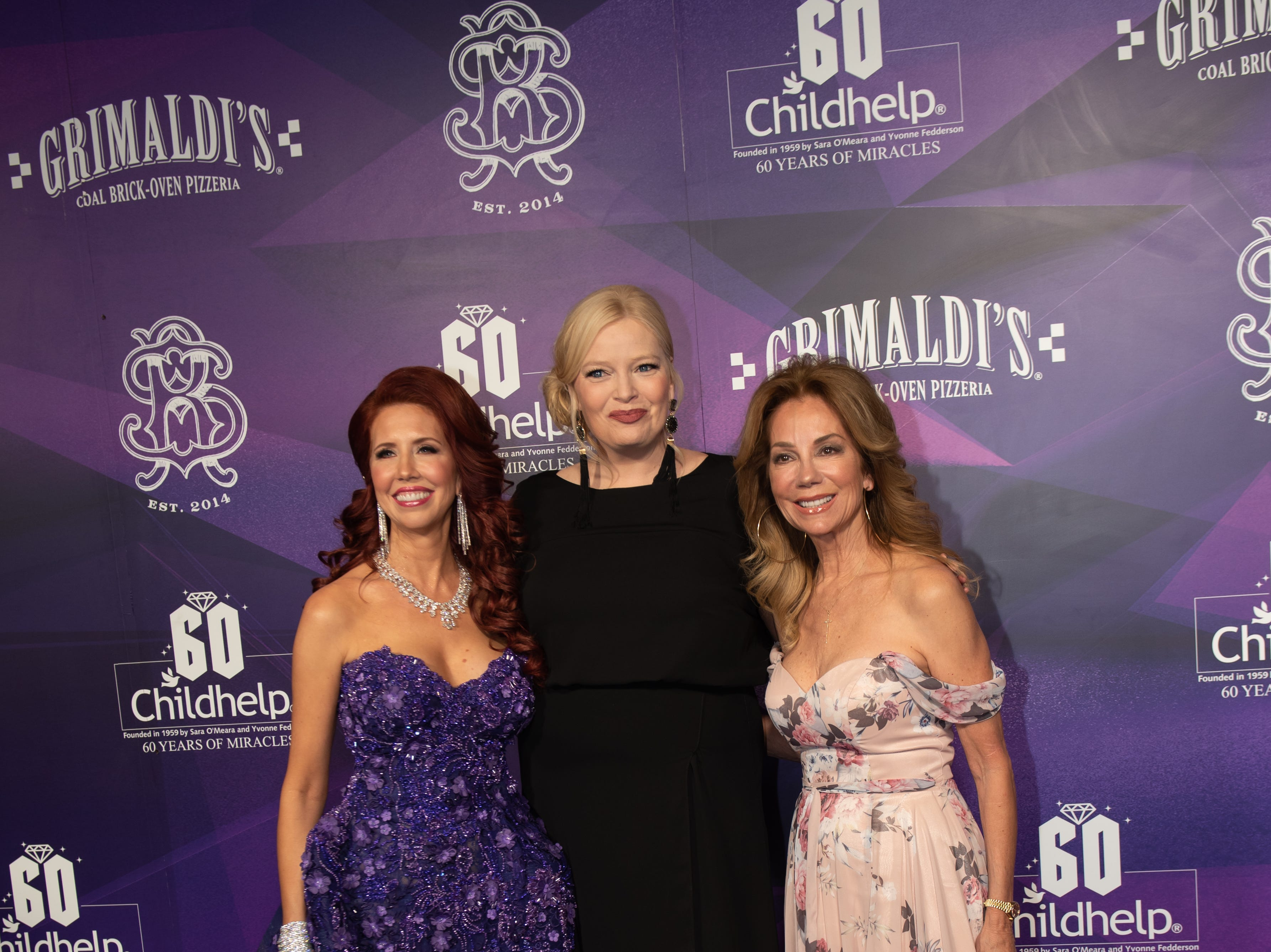 Gala Co-Chair Stacie J. Stephenson, Gala Host Melissa Peterman (center), and Childhelp Celebrity Ambassador Kathie Lee Gifford attended the Childhelp Drive the Dream Gala on February 2, 2019.