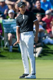 Cameron Champ reacts after missing a putt on the 4th hole during Round 2 of the Waste Management Phoenix Open on Friday, Feb. 1, 2019, at TPC Scottsdale in Scottsdale, Ariz.