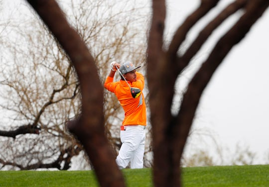 Rickie Fowler hits his tee shot on the sixth hole during the final round of the Waste Management Phoenix Open at the TPC Scottsdale Feb. 3, 2019.