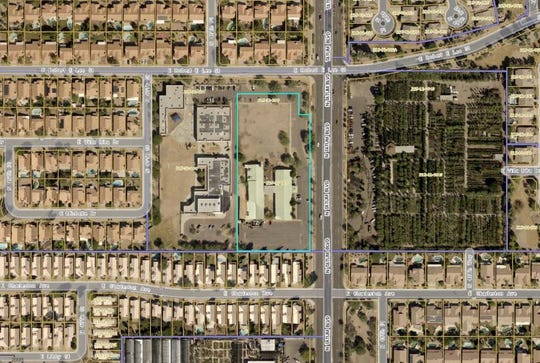 An aerial map shows the location of the proposed MorningStar senior-living facility, at 18010 N. Tatum Blvd. in Phoenix.