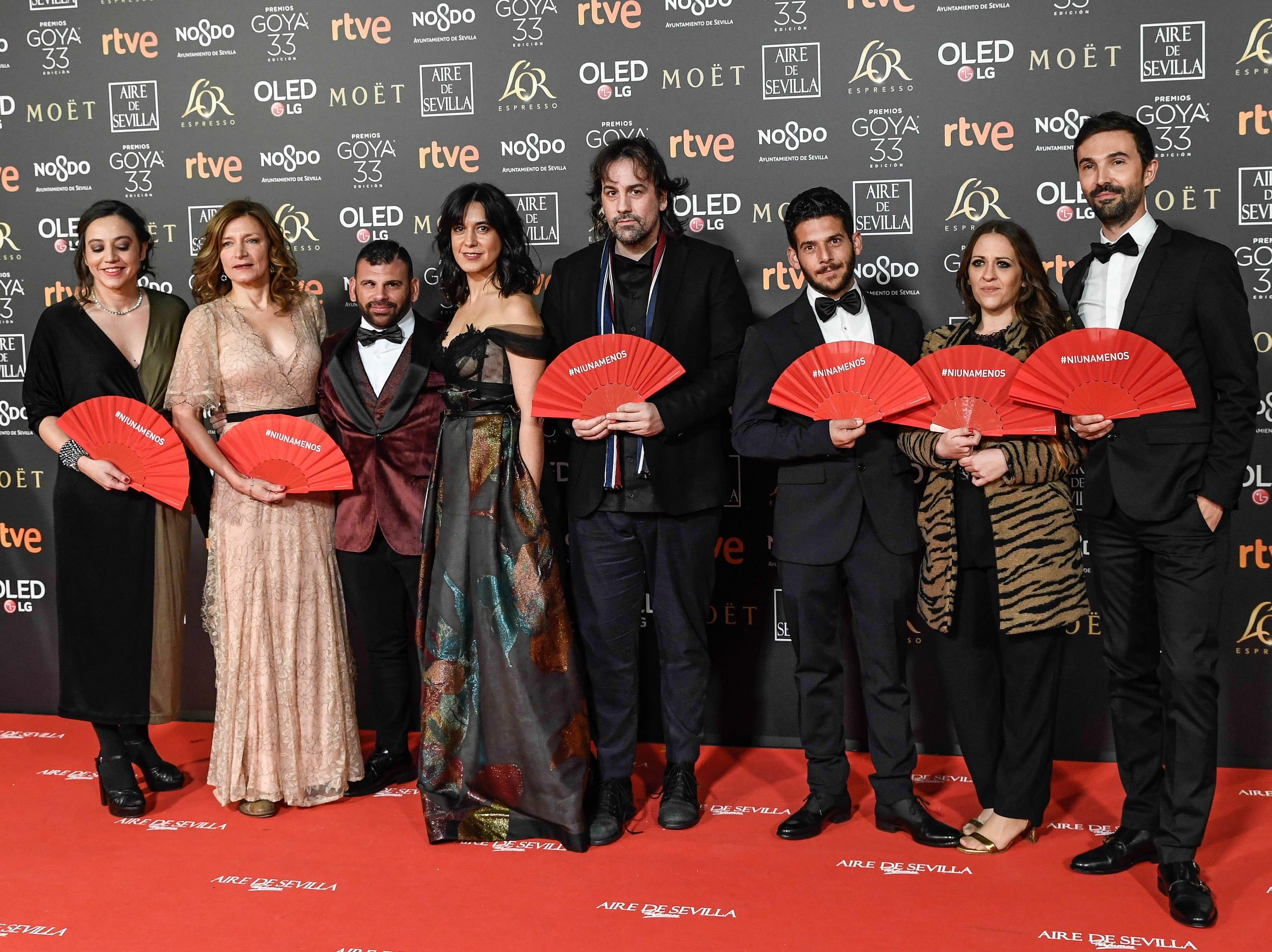 El elenco y producción de 'Entre ods Aguas' asiste a la 33ª edición de los Premios de Cine Goya en el Palacio de Congresos y Exposiciones FIBES el 2 de febrero de 2019 en Sevilla, España.
