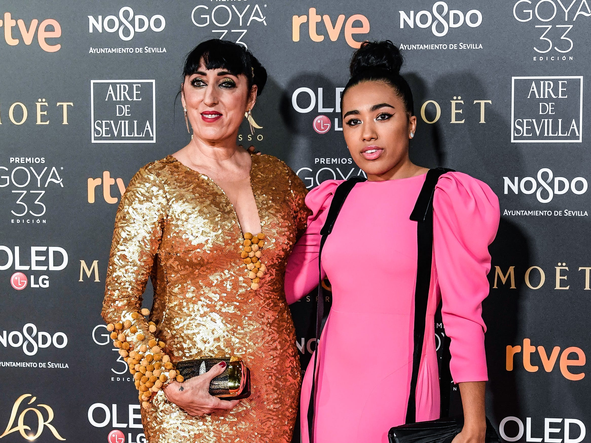 Rossy de Palma y Luna Mary asisten a la 33ª edición de los Premios de Cine Goya en el Palacio de Congresos y Exposiciones FIBES el 2 de febrero de 2019 en Sevilla, España.