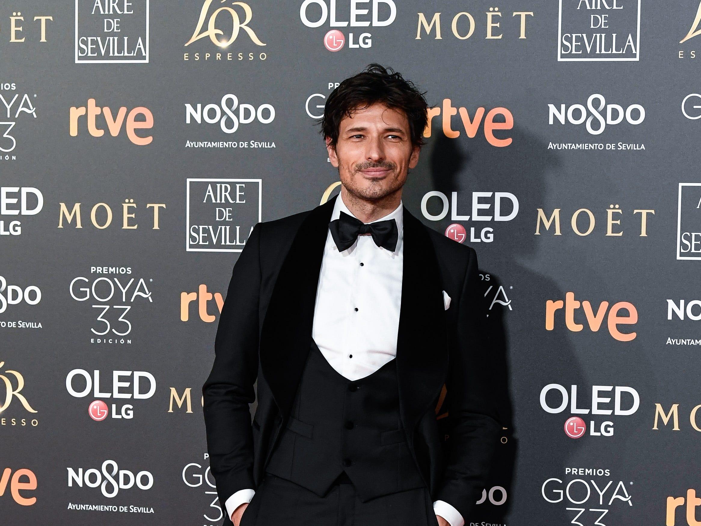Andrés Velencoso asiste a la 33ª edición de los Premios de Cine Goya en el Palacio de Congresos y Exposiciones FIBES el 2 de febrero de 2019 en Sevilla, España.