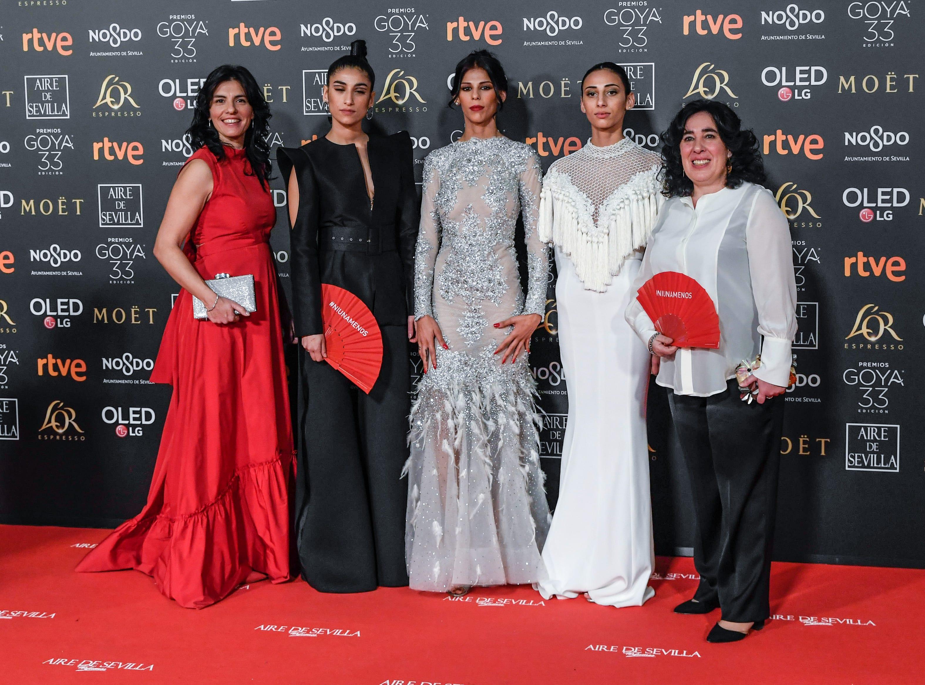 Carolina Yuste, Zaira Morales, Rosy Rodríguez y Arantxa Echevarría asisten a la 33ª edición de los Premios de Cine Goya en el Palacio de Congresos y Exposiciones FIBES el 2 de febrero de 2019 en Sevilla, España.