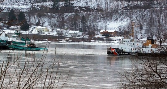 The U.S. Coast Guard retrieved a woman from the Hudson River near the Mid-Hudson Bridge Saturday afternoon.