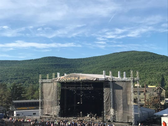 The Mountain Jam stage in 2018, set against the surrounding Catskills.