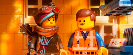 "Lucy/Wyldstyle, voiced by Elizabeth Banks, left, and Emmet, voiced by Chris Pratt, in ""The Lego Movie 2: The Second Part."" The movie opens Feb. 7 at Regal West Manchester Stadium 13 and R/C Hanover Movies."