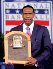 Andre Dawson is shown here during his induction into the Baseball Hall of Fame in 2010.