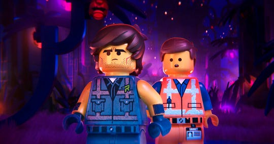 "Rex Dangervest, left, and Emmet, both voiced by Chris Pratt, star in ""The Lego Movie 2: The Second Part."" The movie opens Feb. 7 at Regal West Manchester Stadium 13 and R/C Hanover Movies."