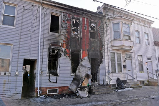 Six people were displaced by a fire started by a malfunctioning cloths dryer in the 200 block of Chestnut Street, Sunday, Feb. 4, 2019.John A. Pavoncello photo