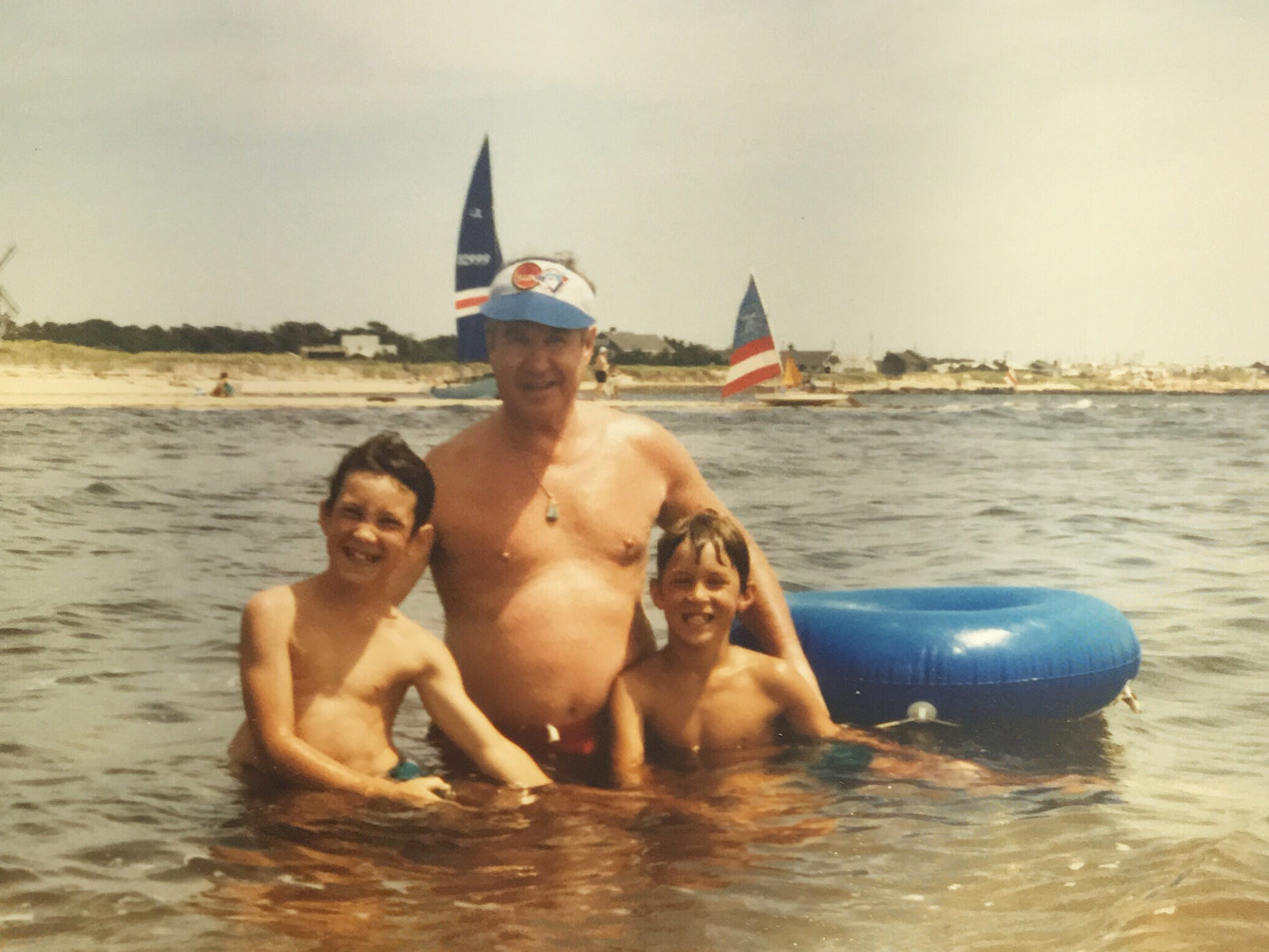 Joe Crozier, center, with his sons Rich, left, and Greg on a family vacation to Cape Cod.