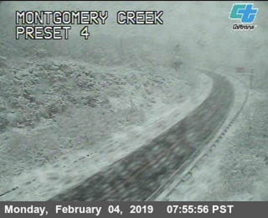 This is a shot of Highway 299 in the area of Montgomery Creek in eastern Shasta County on the morning of Monday, Feb. 4, 2019.