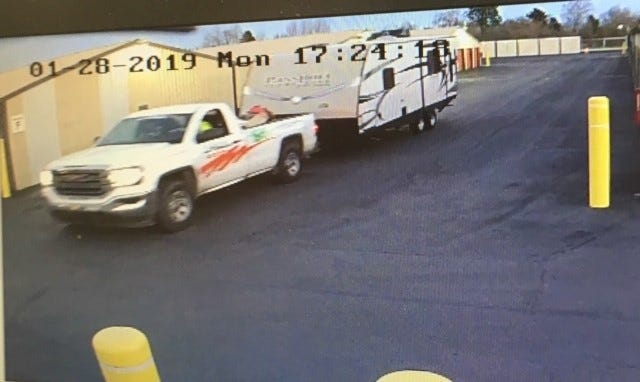 Two suspects steal travel trailer using U-Haul pickup in
