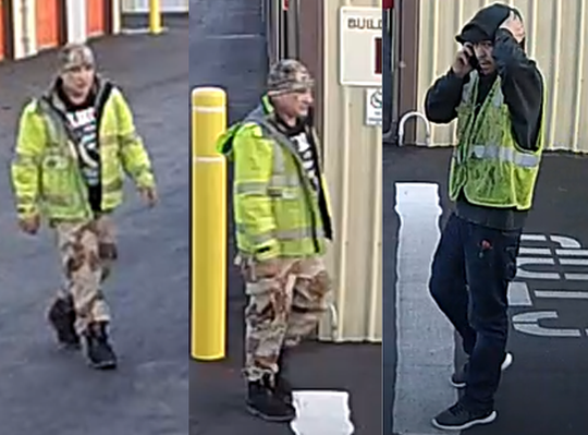 Police are seeking information on these two men following the theft of a travel trailer in Woodburn on Monday, January  28, 2019.