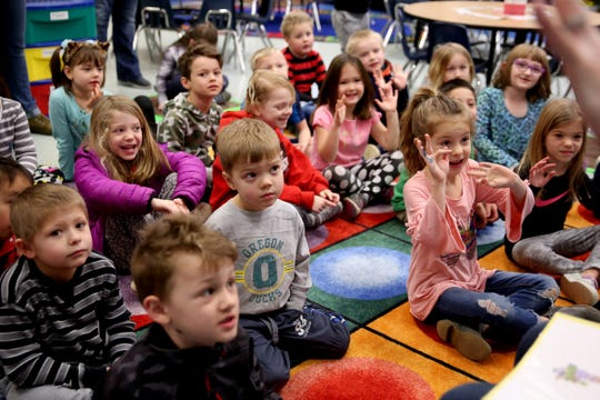 A kindergarten classroom with 34 students, one teacher and one instructional assistant at Pringle Elementary School in Salem on Monday, Feb. 4, 2019.