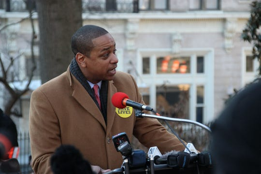 Lt. Gov. Justin Fairfax speaking at a gun control rally organized by the Virginia Center for Public Safety.