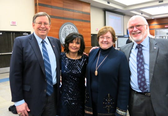 Louisiana Tech Prez Les Guice, Dr. Marsha Friedrich, Kathy Guice, Russ Friedrich at Tech Distinguished Alumni 2019 Awards Ceremony.