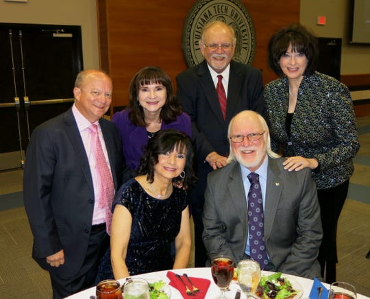 Russ Friedrich (clockwise, from seated right), Marsha Friedrich, Rob and Dee Cockran, Jim and Marilyn Kirkland at College of Engineering & Science Distinguished Alumni 2019 Awards Ceremony Dinner at Louisiana Tech. Dr. Friedrich received the Excellence in Biomedical Engineering Award.