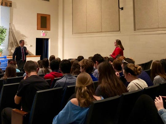 Rep. Ben Cline listens to a student's question about immigration at Fort Defiance High School on Feb. 4, 2019.
