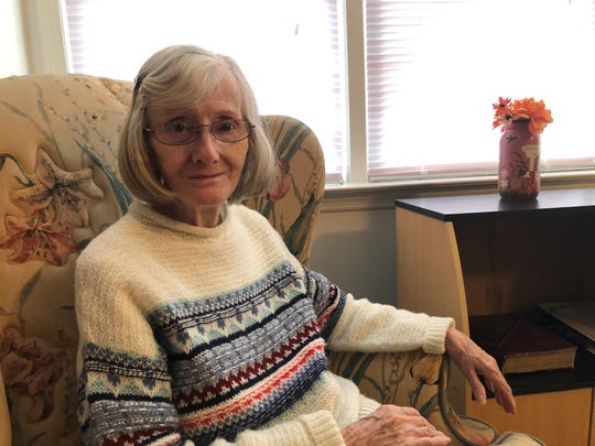 Melva Farley in her apartment in Staunton. Farley escaped the deadly wildfires in Paradise, California and vows she will never return to the state.