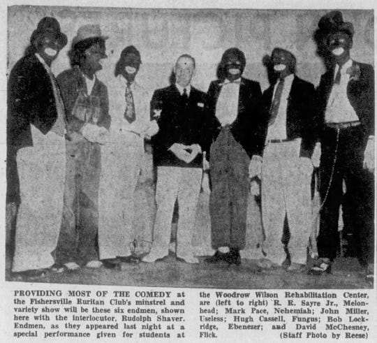 """From our archive from April 9, 1959: """"Providing most of the comedy at the Fishersville Ruritan Club's minstrel and variety show will be these six endmen, shown here with the interlocutor, Rudolph Shaver. Endmen, as they appeared last night at a special performance given for students at the Woodrow Wilson Rehabilitation Center, are (left to right) R.R.  Sayre Jr., Melonhead; Mark Pace, Nehemiah; John Miller, Useless; Hugh Cassell, Fungus; Bob Lockridge, Ebenezer; and David McChesney, Flick."""""""