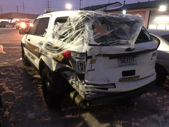 A Benton County Sheriff's Office squad was damaged in a multi-vehicle crash Sunday, Feb. 3, on U.S. Highway 10 near Minnesota Highway 15 when the conditions were icy.