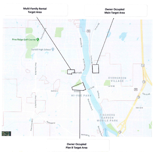 Target areas for the application for DEED's Small Cities funding program for low to moderate income home rehab.