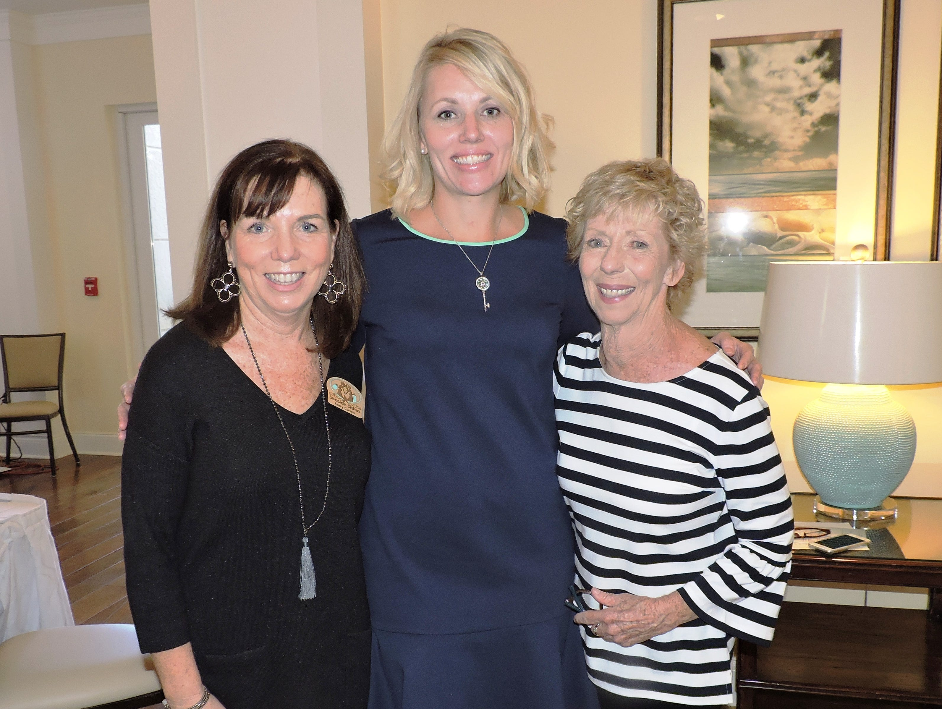 Kerri Caruso, left, Kelly Johnson and Kathy Carmody at Mary's Shelter's Fashion Show & Luncheon Jan.22 at Willoughby Golf Club in Stuart.