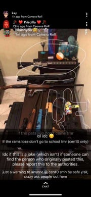 A 15-year-old student at St. Lucie West Centennial High School posted this image of firearms on Snapchat on Super Bowl Sunday, according to Port St. Lucie Police.  It was investigated as a threat against the school.