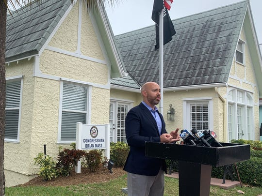 Congressman Brian Mast introduces the Toxic Health Threat Warning Act at his Stuart office on February 4.