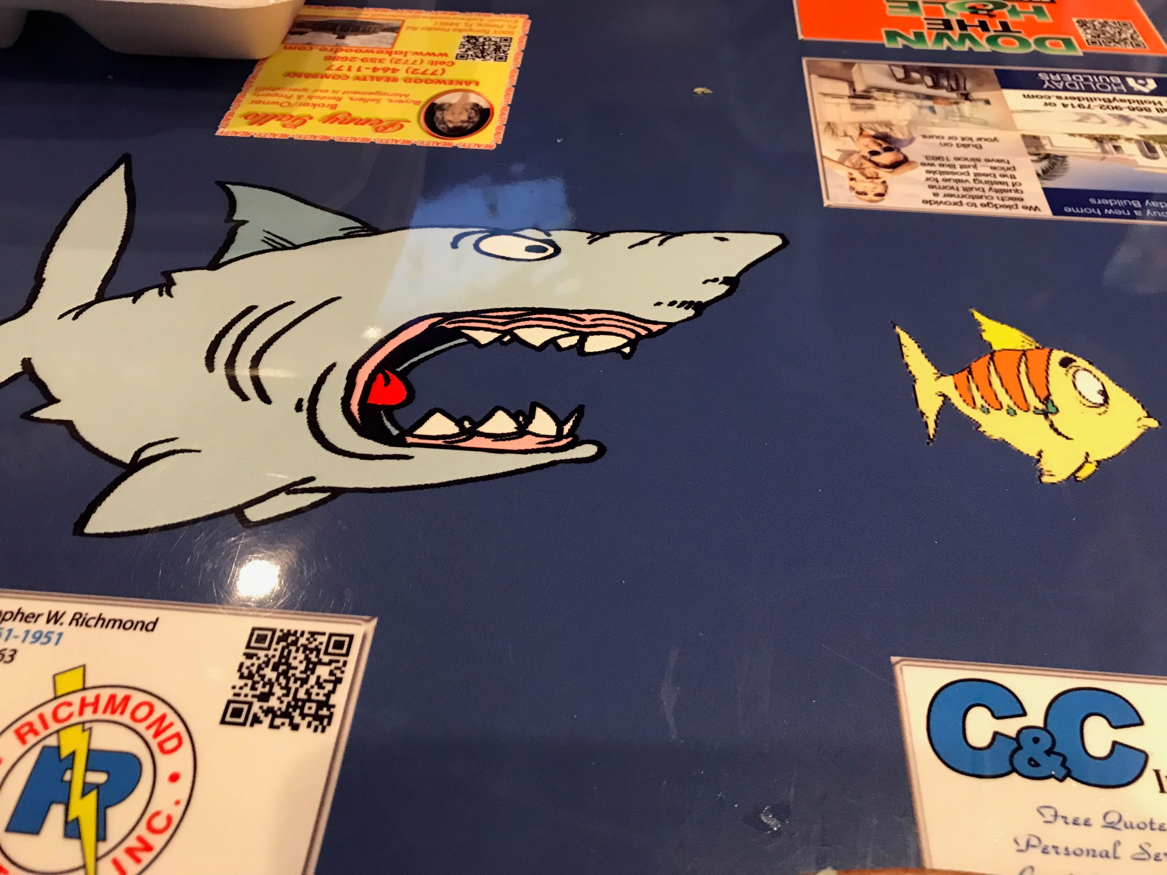 Lefty's has a surfing theme but watch out for sharks.