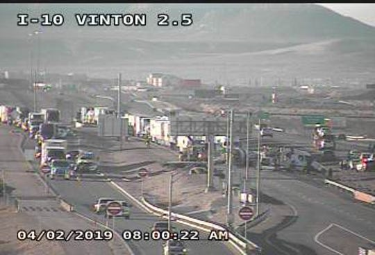 A semi-truck rollover accident on Interstate 10 West near Vinton Monday morning has shut down the highway causing major traffic delays.