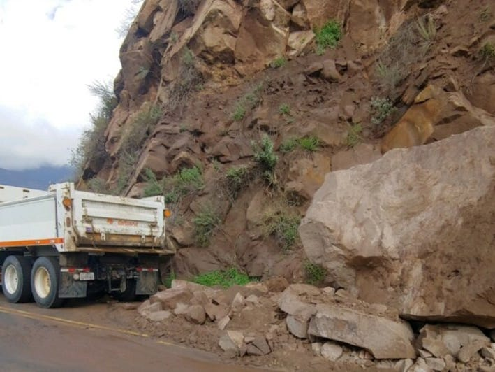 A large boulder was blocking Highway 150 Monday on the Dennison Grade between Reeves Road and Black Mountain Ranch in Ojai. Caltrans workers will use explosives to break it up Tuesday morning.