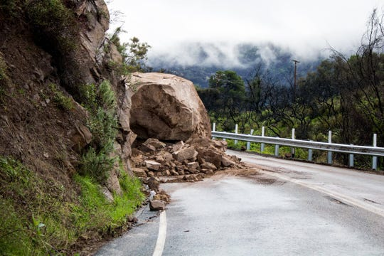 A boulder on the Dennison Grade portion of Highway 150 closed the route Monday between Reeves Road and Black Mountain Ranch in Ojai, officials said. Explosives will be used Tuesday morning to remove the boulder.