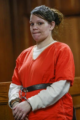 Marissa Tietsort appears for her preliminary hearing Monday, Feb. 04, 2019, at the Marathon County Circuit Courthouse in Wausau, Wisc. Tietsort is charged with abusing an 11-month-old girl she was baby sitting in August.