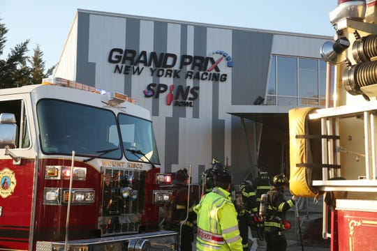 Mount Kisco firefighters at the scene of a fire at Grand Prix and Spins Bowl on Bedford Road in Mount Kisco Feb. 4  2019. The fire was contained to a storage room in the rear of the facility. There were no injuries.