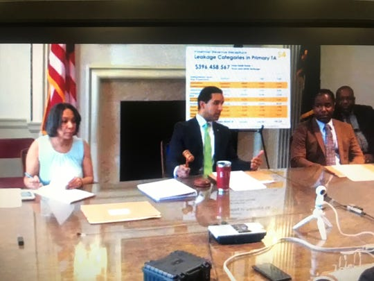 Mount Vernon Mayor Richard Thomas, center, with Comptroller Deborah Reynolds and City Council President Andre Wallace at a Board of Estimate & Contract meeting on Feb. 4, 2019