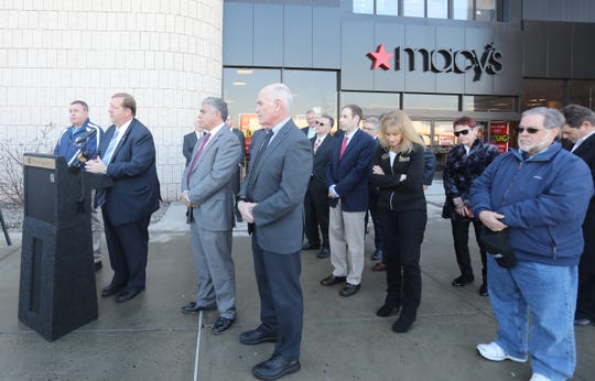 Clarkstown Supervisor George Hoehmann announces the creation of Clarkstown Business and Economic Development Advisory Committee that will develop straggles and pro-growth for the town in front of Macy's at Shops of Nanuet on Feb. 4, 2019.
